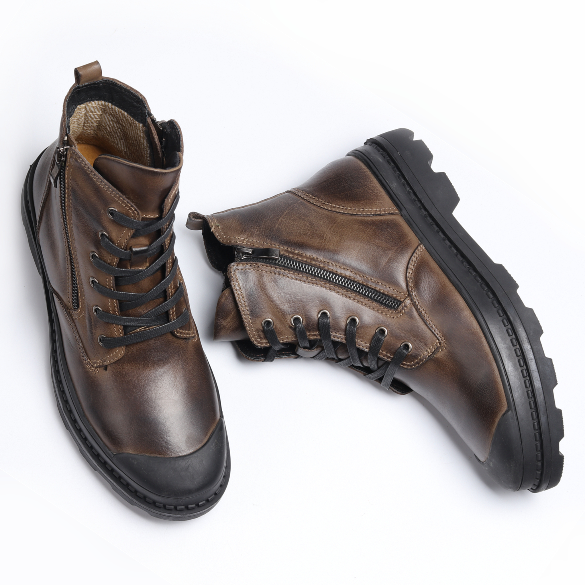 Natural Cow Leather Men Winter Boots Handmade Retro Men Boots Genuine Leather Men Winter Shoes #CX9550 1