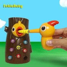 Развивающие игрушки с дятлами рост магнитный замок червячок для кормления животных игры маленький птичек, детские игрушки для рыбалки Набо...
