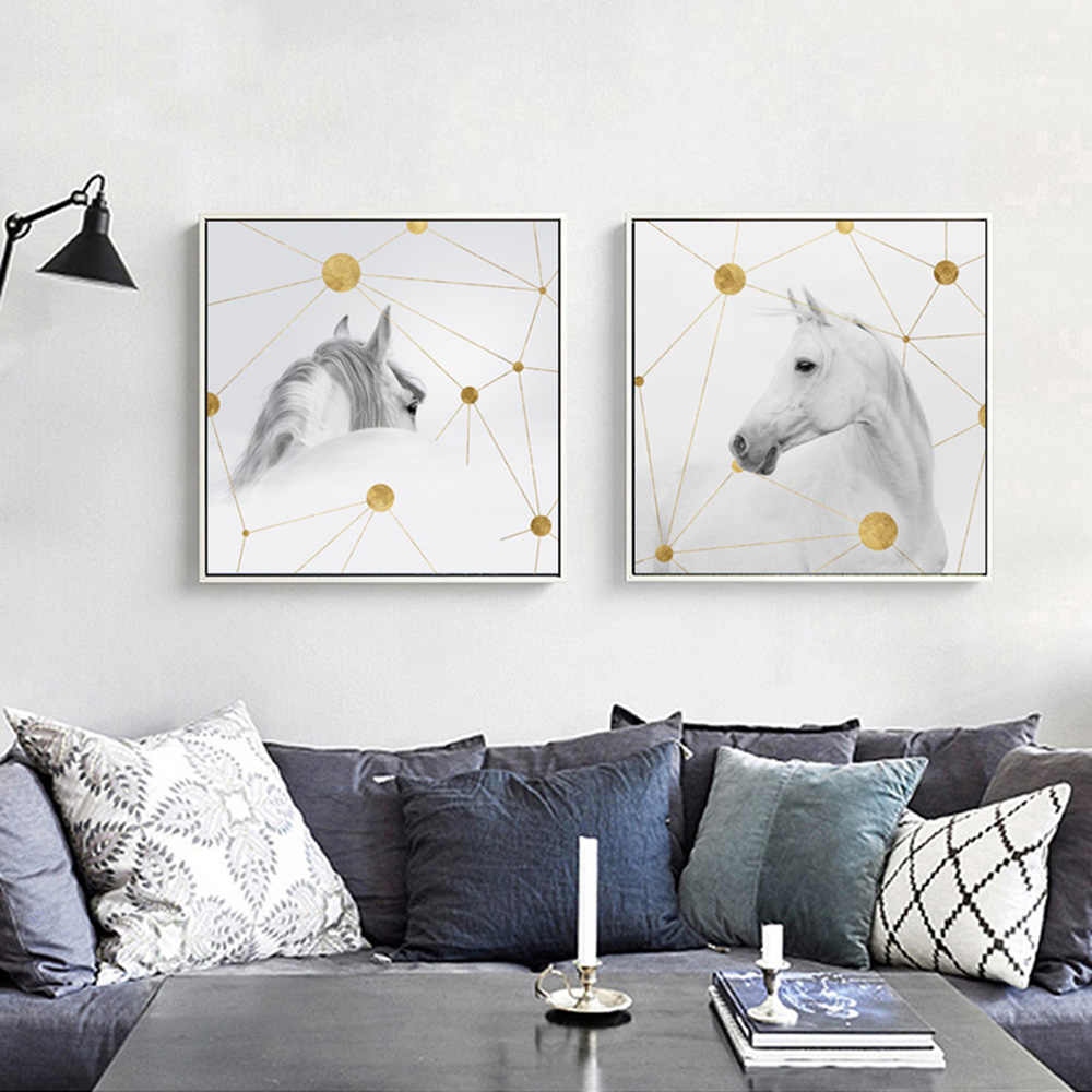 White Horse Geometric Space Decor Canvas Painting Poster Decor Wall Print Wall Pictures For Living Room Print Decor