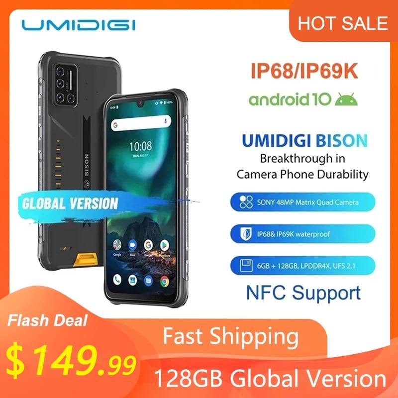 UMIDIGI BISON IP68/IP69K водонепроницаемый прочный телефон 48MP матрица Quad Camera 6,3