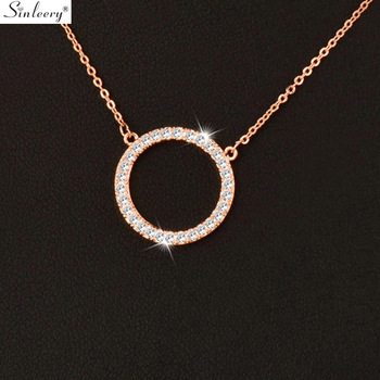 Shiny Paved Tiny Crysral Circle Round Necklaces & Pendants Silver Rose Gold Color Chain Jewelry For Women XL089 SSB Fashion Jewelry