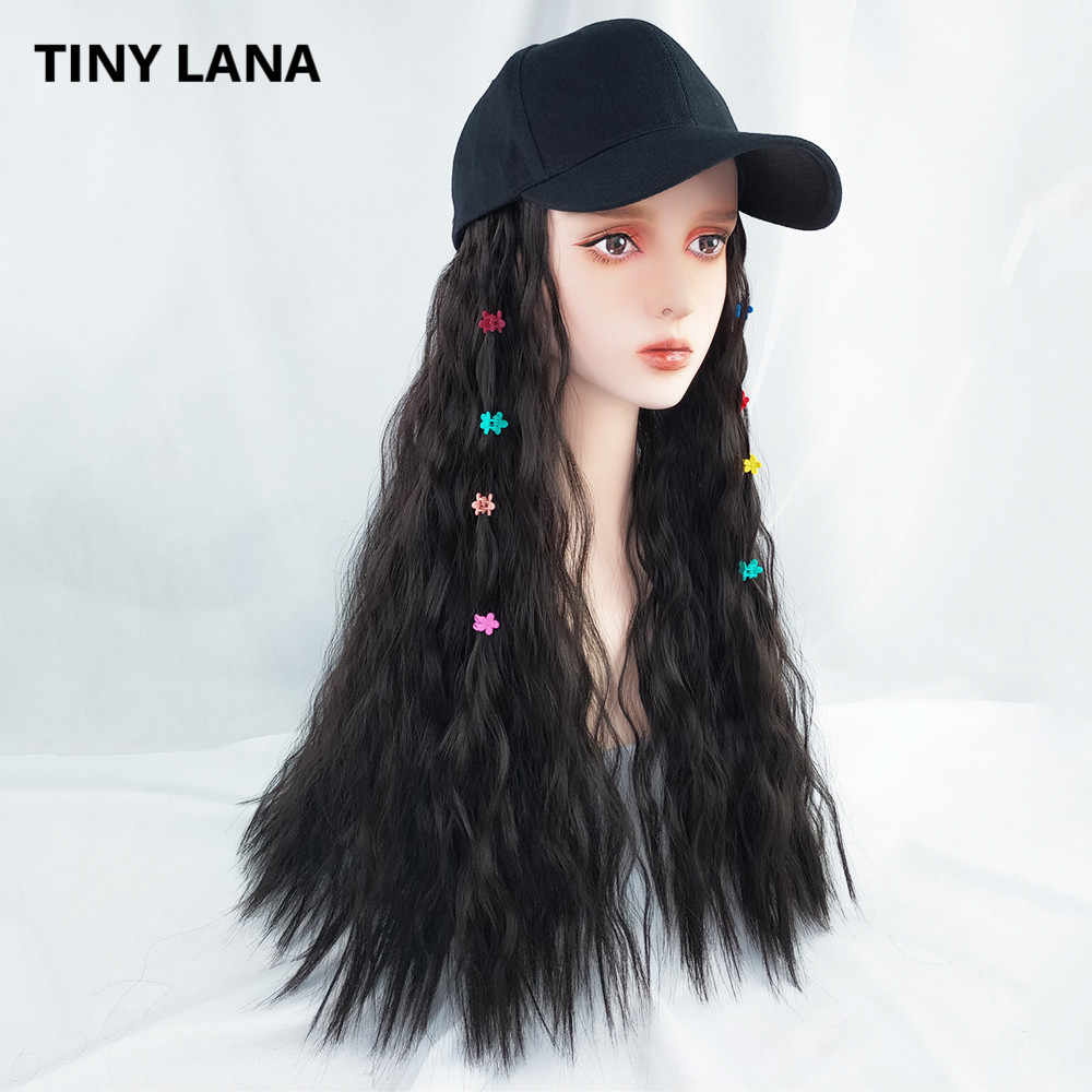 TINY LAN Lolita Cosplay Women's Hair Wig High Quality Fashion Baseball Cap with Synthetic Hair Extension Long Hair Wig Hat For