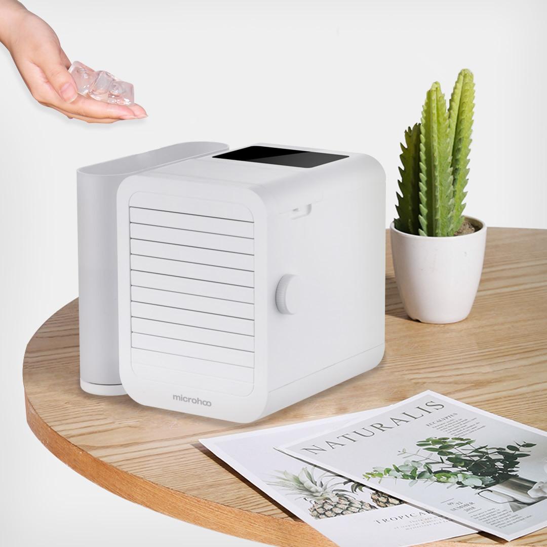 MICROHOO 6W 1000ml capacidad de agua Mini aire acondicionado pantalla táctil 99-ajuste de velocidad ahorro de energía ventilador de refrigeración de tiempo