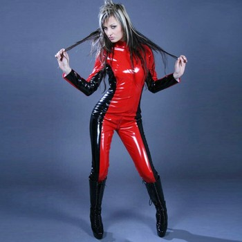 High Quality Adult Womens Red and Black Costumes Shiny Metallic Party Sexy Catsuit Suit Female Zentai Fullbody Cosplay Costume tanie i dobre opinie COCLSTIK Syntetyczny Kostiumy