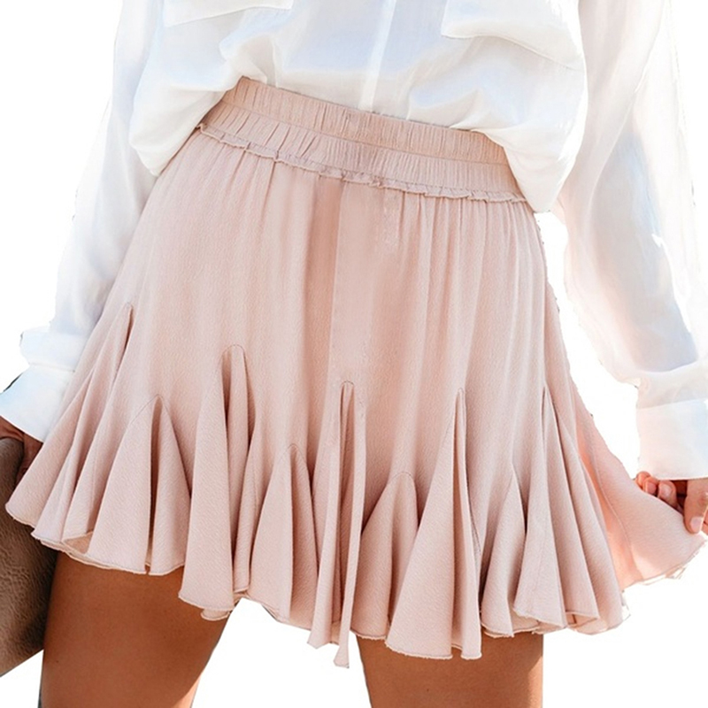 White Black Chiffon Summer Shorts Skirt Elegant Women 2020 Fashion Korean High Waist Tutu Pleated Mini Sun School Skirt Female