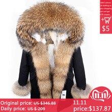 Шуба пальто женское новое женское зимнее пальто парка Большой воротник из меха енота Съемный подклад из меха кролика Топ бренд