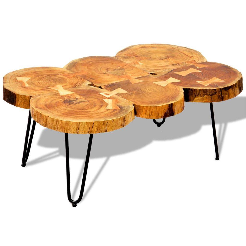 VidaXL Coffee Table 35 Cm 6 Trunks Solid Sheesham Wood