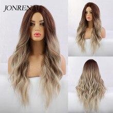 JONRENAU длинный парик Омбре коричневый к бежевому синтетические натуральные волнистые волосы парики для белой/черной женской вечеринки парик