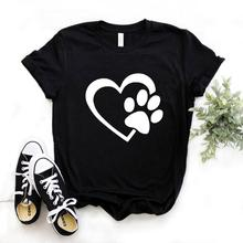 Dog paw heart Print Women Tshirts Cotton Casual Funny t Shir