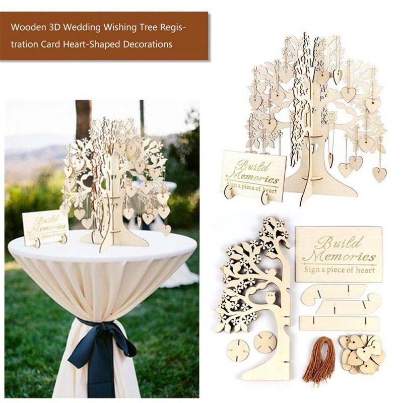 3D Wooden Ornaments Wedding Party Message Board Wishing Tree Heart-shape Hanging Decoration