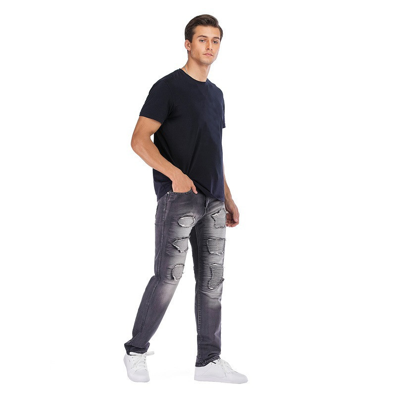 Fashion Men`s Motorbike Motorcycle Jeans Denim Trousers Cool Teens Youth Boys Washed Holes Pleated Male Straight Pants 29-42 (28)