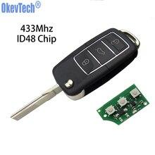 цена на OkeyTech Remote Car Key for V W Golf Passat B6 T5 Polo Volkswagen 3 Button 433Mhz ID48 Chip Flip Folding HU66 Uncut Blank Blade