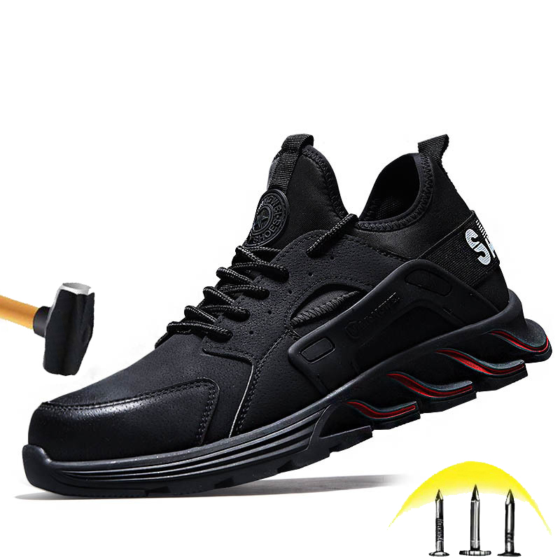 New Waterproof Safety Shoes 2020 Autumn And Winter Men's Steel Head Cap Anti-Smashing Lightweight Work Boots Anti-Piercing Shoes image