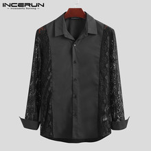 Sexy Shirt Incerun-7 Camisas Lace Men Dress Long-Sleeve Party Chic Nightclub Fashion