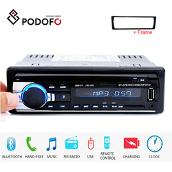 Podofo 1DIN Car Radios Stereo Remote Control Digital Bluetooth Audio Music Stereo 12V Car Multimedia Player AUX-IN FM/USB Player