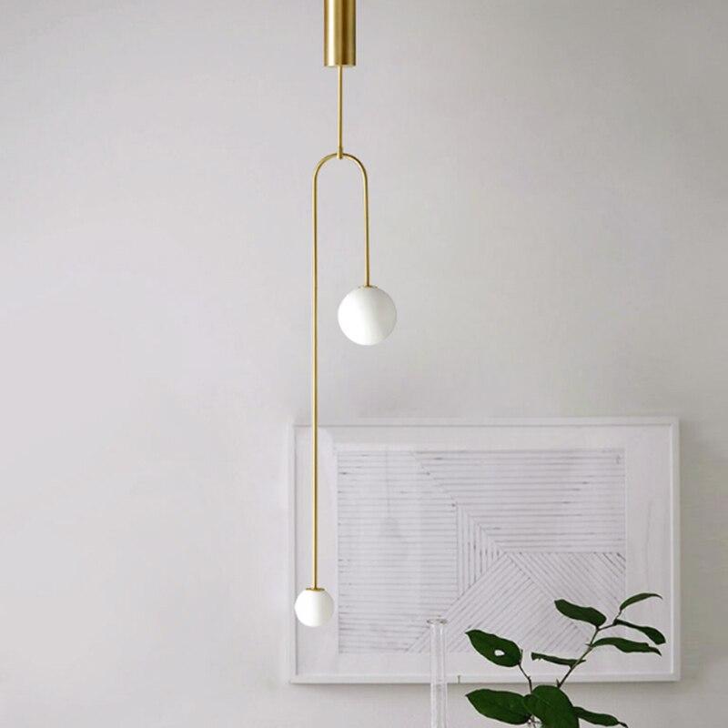 Minimalist Metal Plating Gold 2 Heads Pendant Lamp Modern White Glass Ball Pole Lamp Bedside Living Room Decor Led G9 Lighting