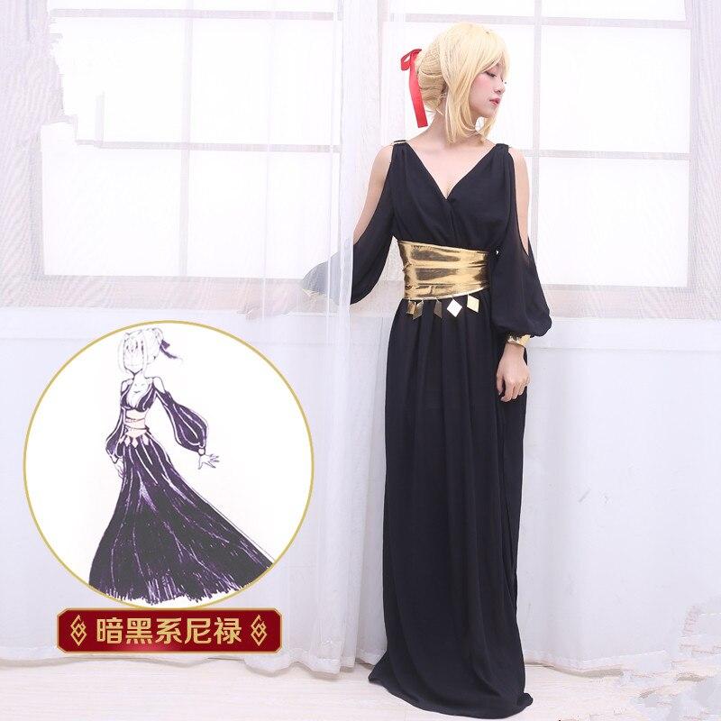 Аниме Fate/Grand Order FGO Saber Нерон Клавдий косплей костюм черная пижама ночная рубашка ежедневный костюм Необычные Вечерние платья с париком