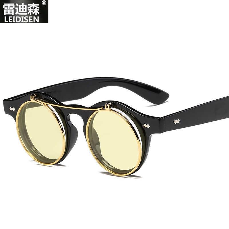 LEIDISEN 2019 новые классические ретро круглые мужские солнцезащитные очки винтажные прозрачные солнцезащитные очки оверсайз плоская верхняя рама Роскошные gafas de sol