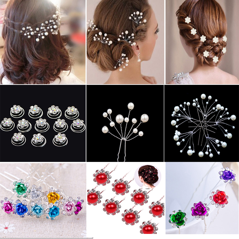 10/12/20Pcs Fashion Crystal Flower Hairpin Bridal Wedding Hair Accessories Pearl Hair Stick Headdress For Women Hair Ornaments