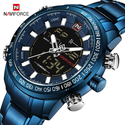 NAVIFORCE Watches Men Full Steel Quartz Digital Clock Waterproof Watch Men's Fashion Blue Watch Relogio Masculino Dropshipping