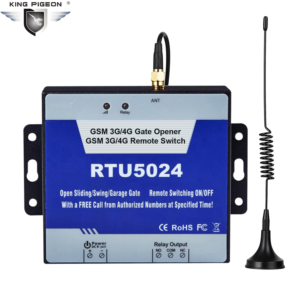 4G GSM Gate Opener SMS Remote Controller Relay Switch For Swing Gate Garage Door Opener Switch By Free Phone Call RTU5024