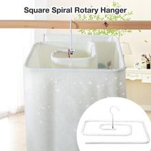 Rotating Cloths Rack Square Spiral Rotary Hanger Drying Shaped Storage Blanket Space Saver