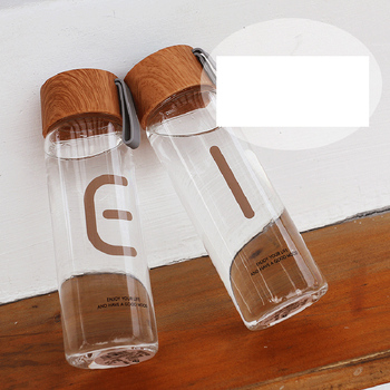 Wood Grain Color Glass Water Bottle With Rope High Borosilicate Glass Water Bottles Leakproof For Sports Ofiice 2