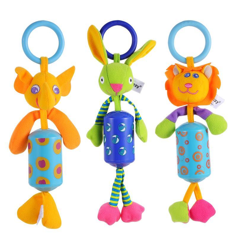 3Pcs Kids Plush Cartoon Pendant Toys Hanging Toys for Crib with Rattle Ring