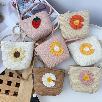 Girls Summer Straw Mini Crossbody Bags Embroidery Daisy Flower Children Coin Purse Baby Kids Cute Small Shoulder Bag Money Pouch girls open shoulder flower embroidery top
