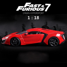 Jada Diecast 1:18 Car Fast and Furious Metal Toy Car Lykan HyperSport Alloy Street Race Model Car Toys For Kids Collection Gifts