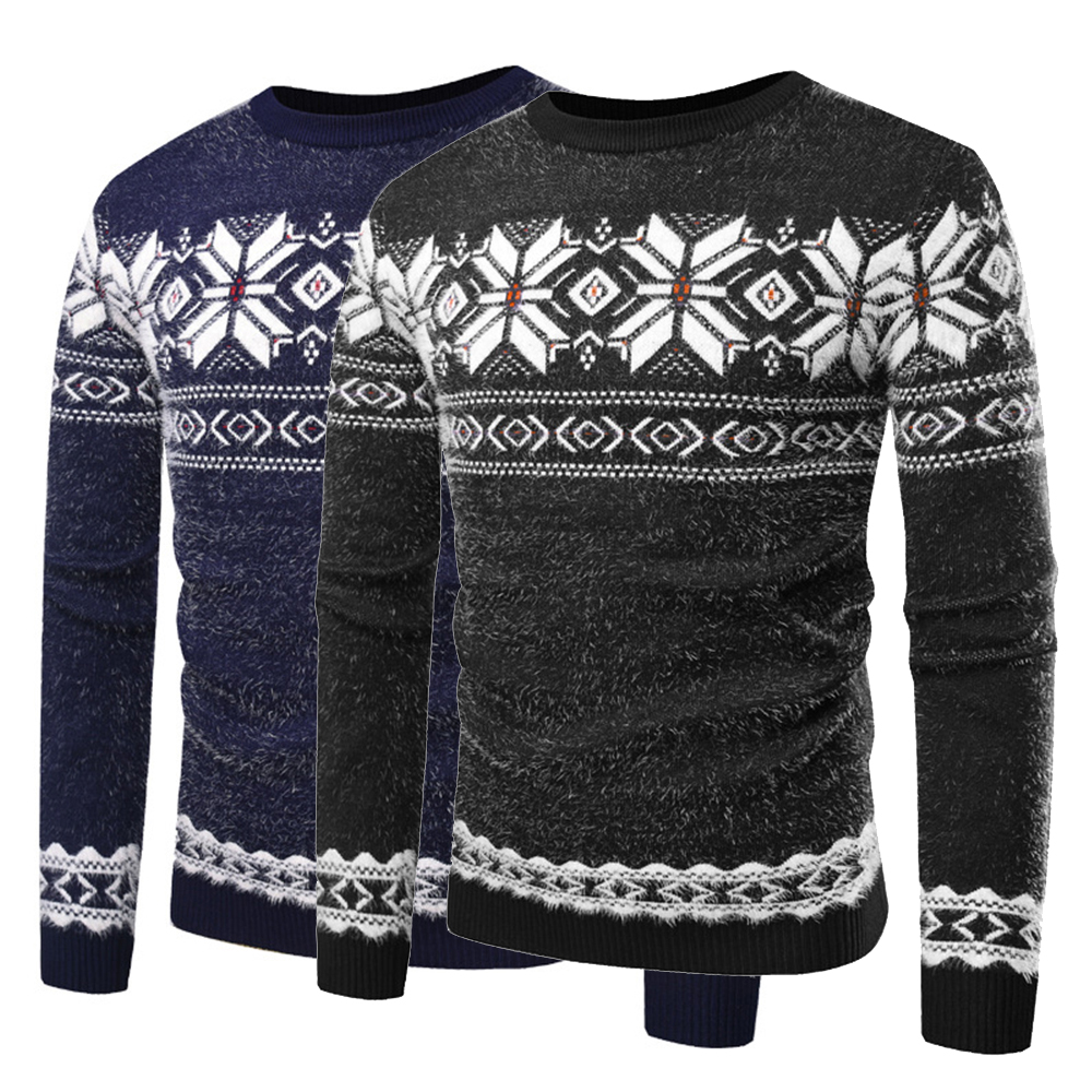 2019 Men Sweater Slim Fit Knitted Pullover Sweaters Christmas Pattern Spring Autumn O Neck Sweatshirt Tops Long Sleeve