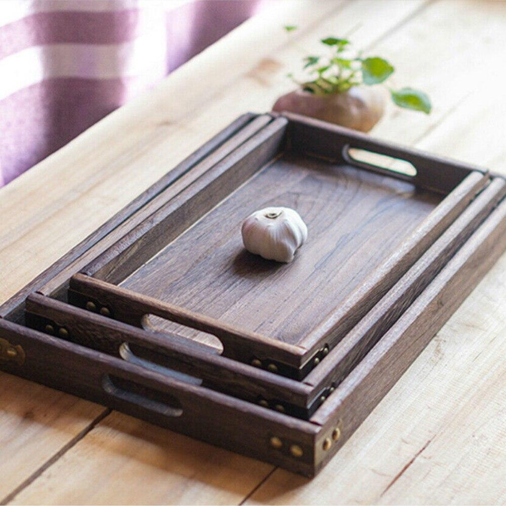 Прямоугольные ретро-подносы для хранения, деревянный поддон, гостиничный десертный ужин, посуда для чая, сервировочный поднос, домашний кухонный инструмент, 1 шт.-1