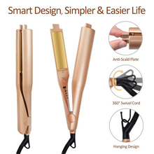 2 in 1 Electric Hair Straightner Curler Portable Perm Wave Machine Curling Flat
