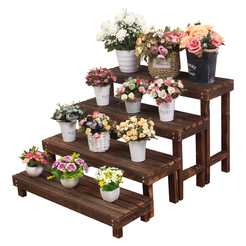 Indoor Anti-corrosion Wooden Flower Shelf Stepped Meaty Green Flower Stand Solid Wood Head Balcony Flower Stand Floor Type