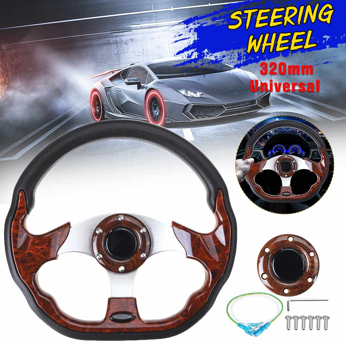 320mm Universal Car Racing Steering Wheel Aluminum Go-Kart Racing Sport Steering Wheel Auto Modification(China)