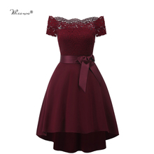 7 Colors 2020 Short Lace Prom Dress Burgundy Black Zipper Side A Line With Bow Robe De Soiree Party Dress For Plus Size Woman