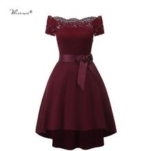 7 farben 2020 Kurze Spitze Prom Kleid Burgund Schwarz Zipper Seite EINE Linie Mit Bogen Robe De Soiree Party Kleid für Plus Größe Frau