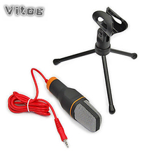 Novo Microfone de Áudio de 3.5mm Stereo Wired Microfone Condensador Com Stand Holder Clip Para PC Conversando Cantar Karaoke Portátil Mic