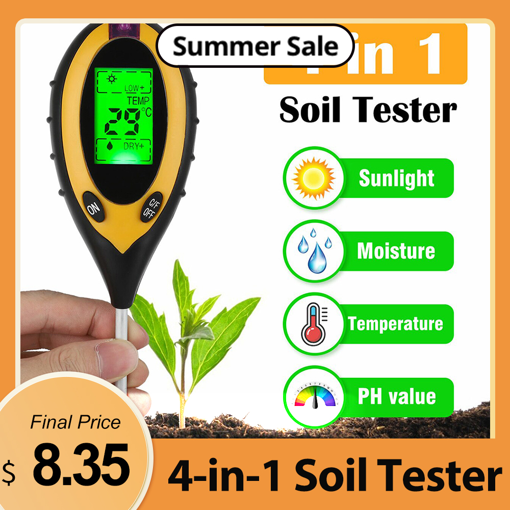 Тестер 5-в-1 цифровой прибор для измерения уровня pH Измеритель влажности уровня PH Температура интенсивность солнечного света тестер влажнос...