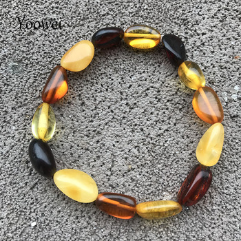 Yoowei New Natural Amber Bracelet for Women 100% Genuine Bead diy Original Irregular Oval Multicolor Gem Amber Jewelry Wholesale yoowei 5mm amber women necklace for christmas new year gift round gold baltic amber jewelry s925 silver beads boutique wholesale