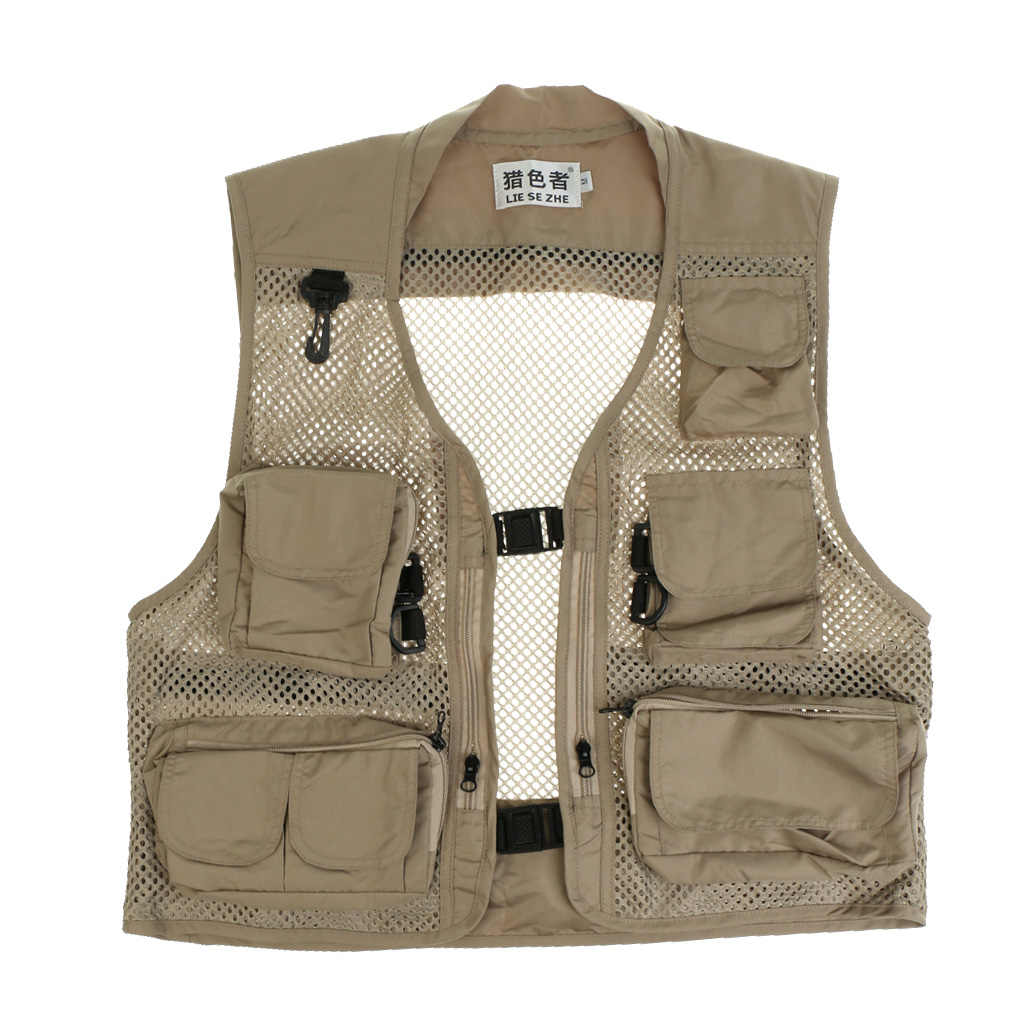 Outdoor Quick-Dry Fishing Vest Multi Pockets Mesh Fishing Hunting Waistcoat