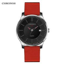 Chronos мужские часы из натуральной кожи повседневные модные