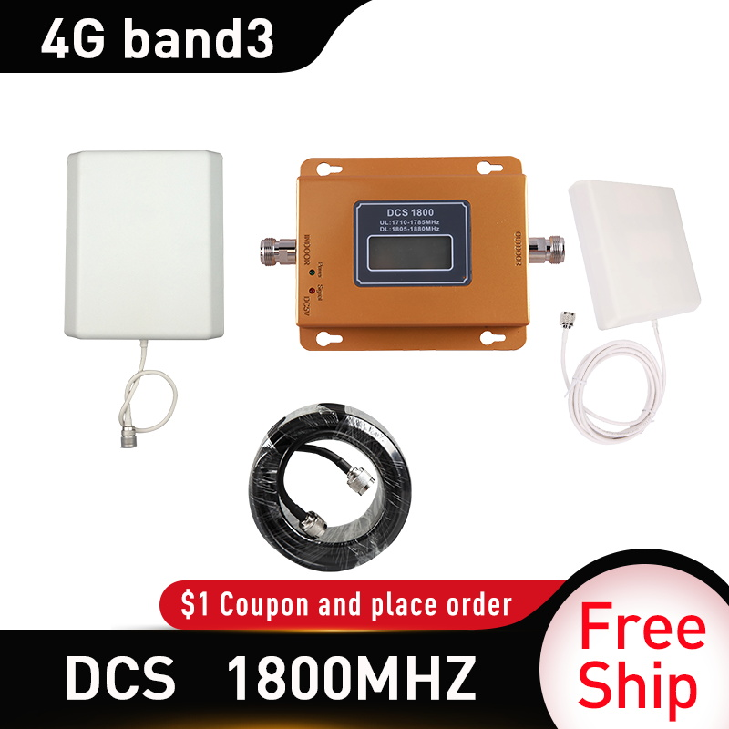 4g Signal Booster Lte Dcs 1800 Mhz Repeater Gsm 4g Mobile Signal Repeater 1800mhz Band 3 Cellular Signal Amplifier 9dbi Panel