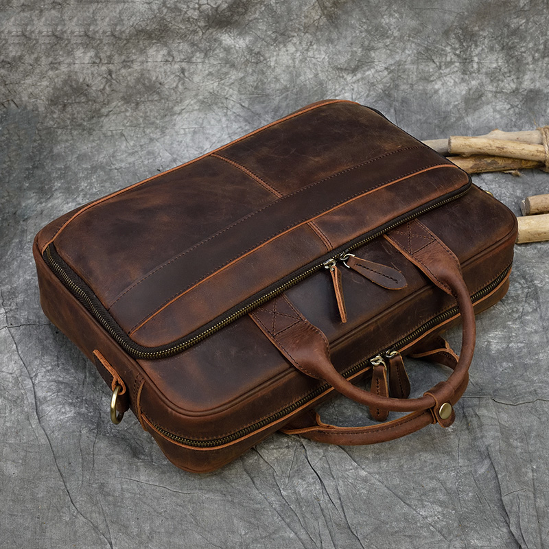 """H8ef8cce54a8c49fb87705d849f2da2c1D MAHEU Men Briefcase Genuine Leather Laptop Bag 15.6"""" PC Doctor Lawyer Computer Bag Cowhide Male Briefcase Cow Leather Men Bag"""