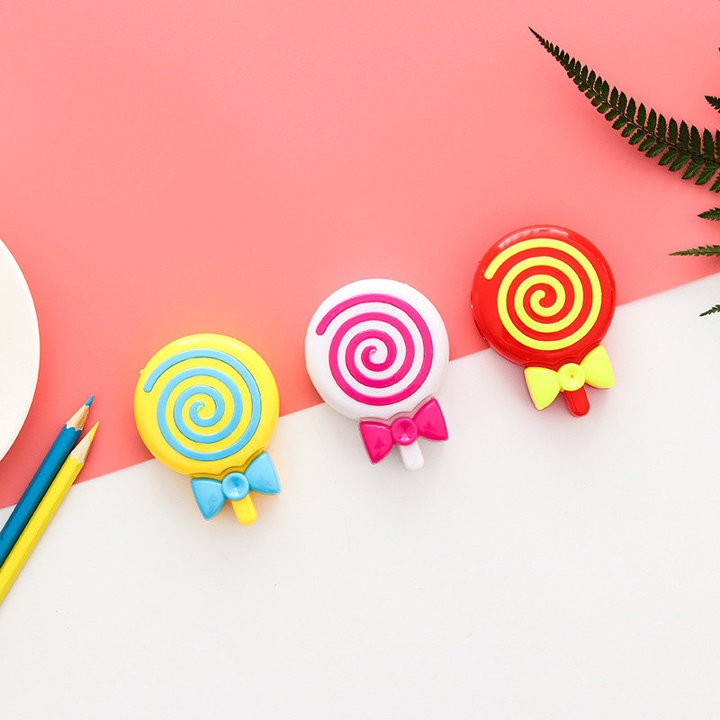 1 Pieces Lytwtw's Creative Kawaii Cute Candy Color Lollipop Pencil Sharpener School Office Supply Stationery Gift For Kid