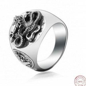 Мужское тайское серебряное кольцо BOCAI, серебряное кольцо с синим драконом из тайского серебра S925 пробы