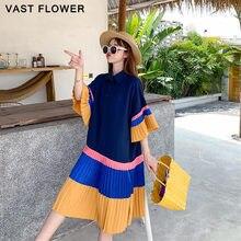 Plissado hit cor camisa de verão vestido feminino estilo coreano plus size manga curta solta vestidos casuais moda roupas elegantes 2021