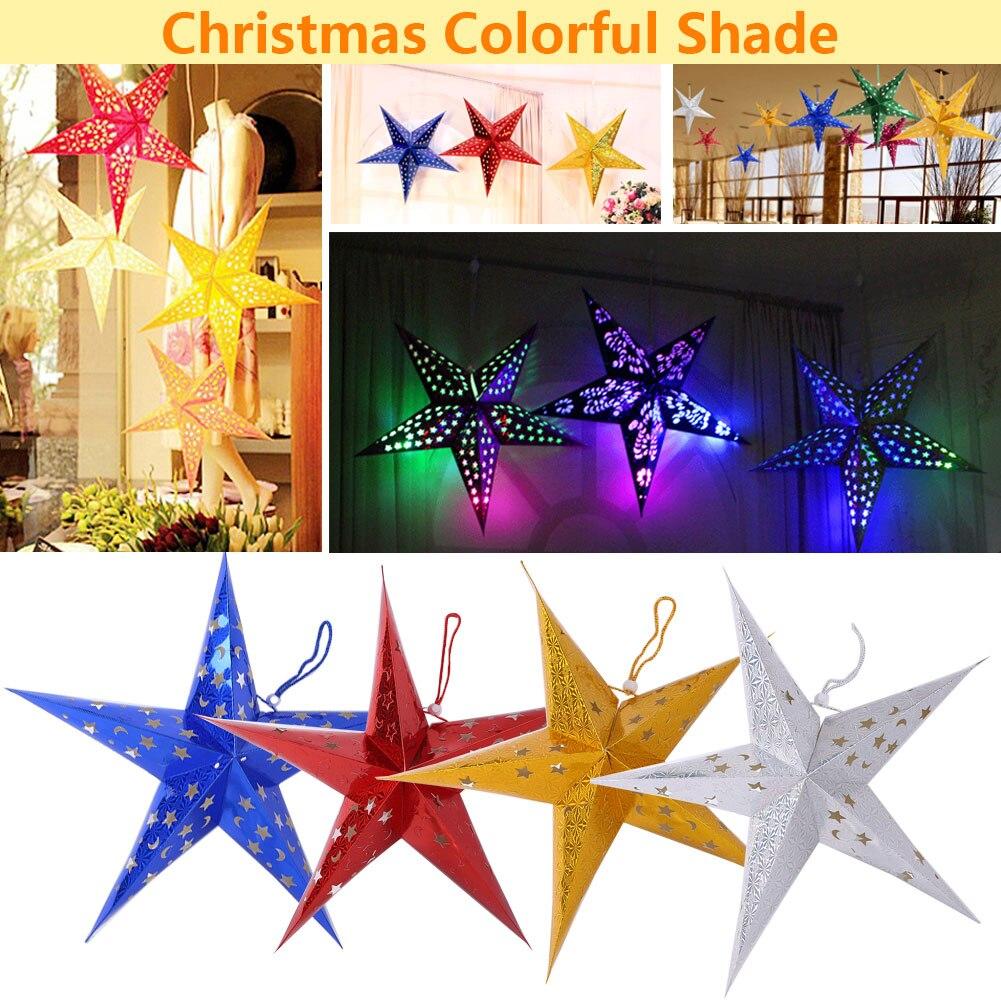 New Light Shade Lamp Lantern Christmas Lampshade Beautiful 60CM Five Pointed Stars Laser Paper Holiday Lighting Xmas Tree Decor