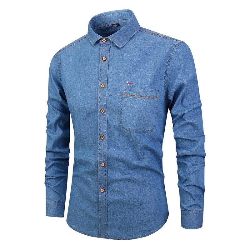 2019 Aramy Men's Casual Jeans Denim Shirts Long Sleeve Cotton Dress Aramy Shirt Men