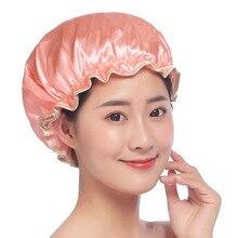 1 шт. Милая Толстая Женская шапочка для душа s цветная двухслойная атласная ночная шапочка для сна шапочка для душа взрослых водонепроницаемая